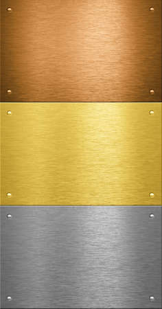 Aluminum and brass stitched metal plates with rivets photo