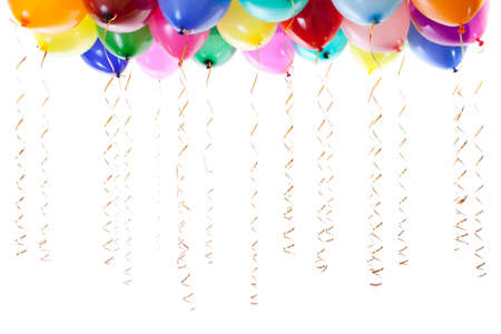 colourful balloons filled with helium and with golden streamers isolated on white Stock Photo - 8577733