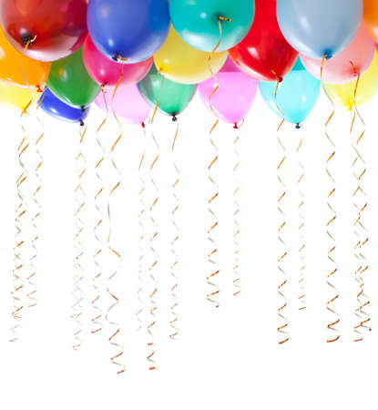 gold string: colourful balloons filled with helium and with golden streamers isolated on white Stock Photo