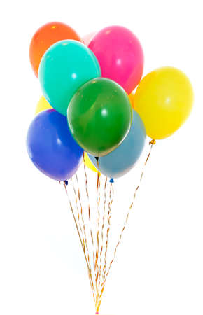 colourful balloons bunch filled with helium isolated on white Stock Photo - 8577749