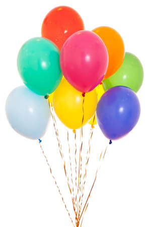colourful balloons bunch filled with helium isolated on white Foto de archivo