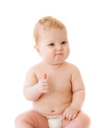 Satisfied baby thumbs up her finger isolated