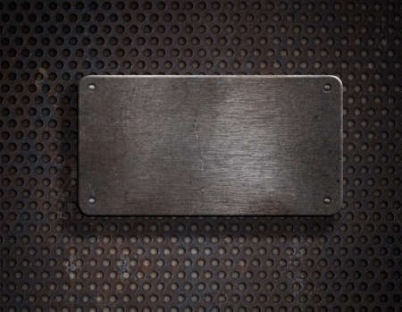 metal plaque: grunge rusty metal plate over grid background