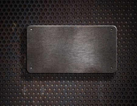 placa bacteriana: l�mina de metal oxidado de grunge sobre fondo de cuadr�cula