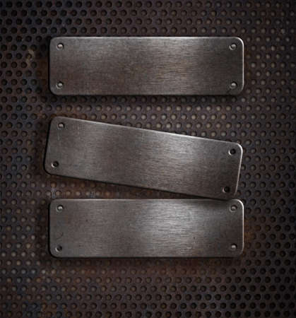 steel mesh: three grunge rusty metal plates over grid background