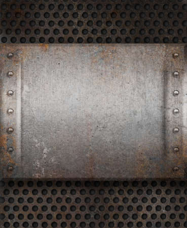 grunge rusty metal plate over grid background photo