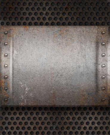 metal grid: grunge rusty metal plate over grid background
