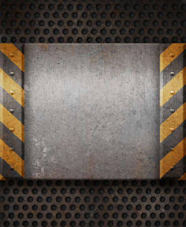 yellow block: Grunge metal plate with black and yellow stripes Stock Photo