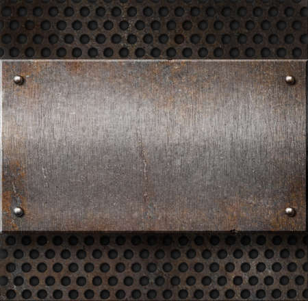 grunge rusty metal plate over grid background Stock Photo - 8746647