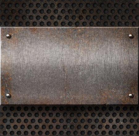 malla metalica: l�mina de metal oxidado de grunge sobre fondo de cuadr�cula