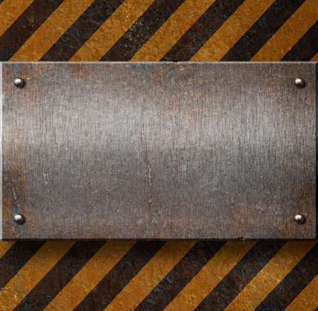 ironwork: Grunge metal plate with black and yellow stripes Stock Photo