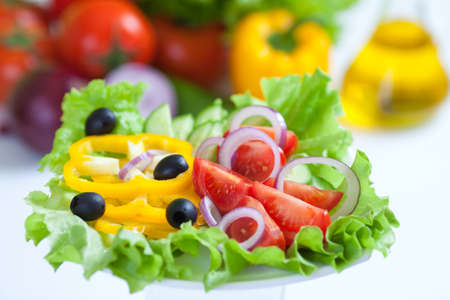 dried food: healthy food fresh vegetable salad and fork