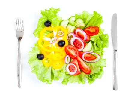healthy food fresh vegetable salad knife and fork photo