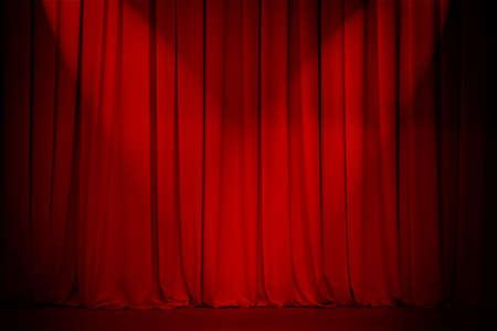 premios: cortina de teatro rojo con dos luces de cruce