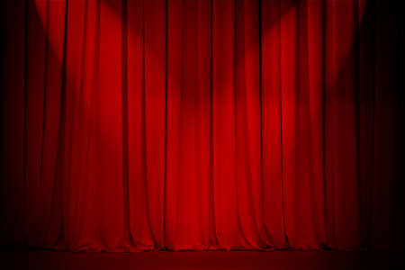 broadway show: sipario del Teatro rosso con due luci Croce