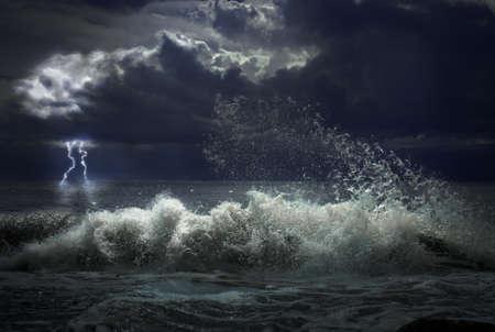 sea storm: storm with lgihting Stock Photo