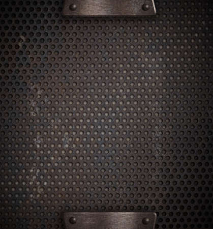 heavy metal: metal holed or perforated grid background