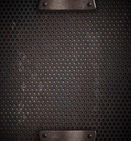 metal mesh: metal holed or perforated grid background