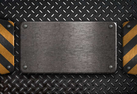 heavy metal: grunge metal plate with yellow warning stripes
