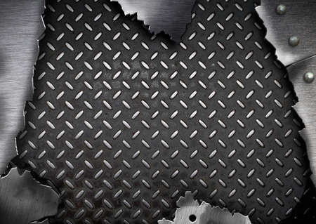 hole in wall: grunge cracked metal plate template