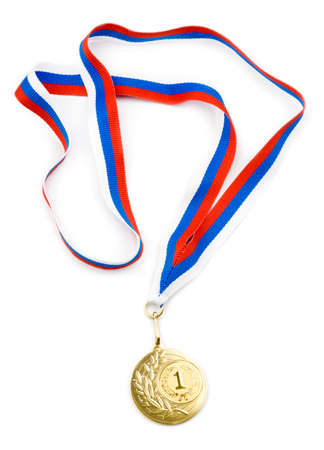 gold medal or award with ribbon isolated photo