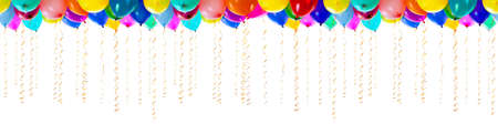 seamless colourful balloons with streamers for party or birthday isolated photo