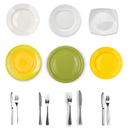 plates and silverware isolated on white collection photo