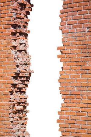 Broken brick wall isolated photo