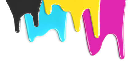 printer ink: CMYK cyan magenta yellow black inks dripping isolated on white