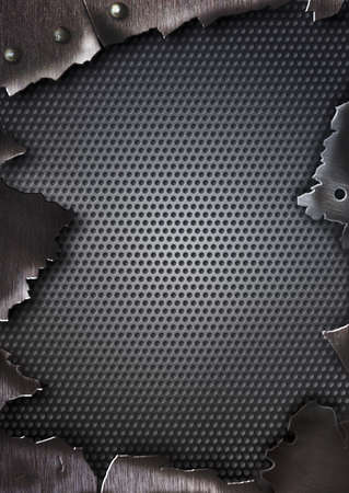 sheet iron: grunge crack metal background with rivets Stock Photo