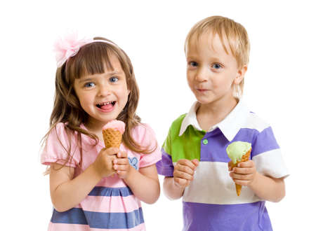 happy children twins girl and boy with ice cream in studio isolated photo