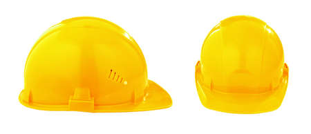 two different views of yellow safety hard hat Stock Photo - 9766841