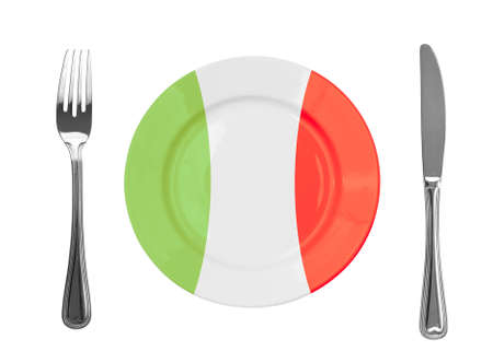 Plate colored in Italian national colors photo
