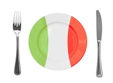 italian flag: Plate colored in Italian national colors Stock Photo