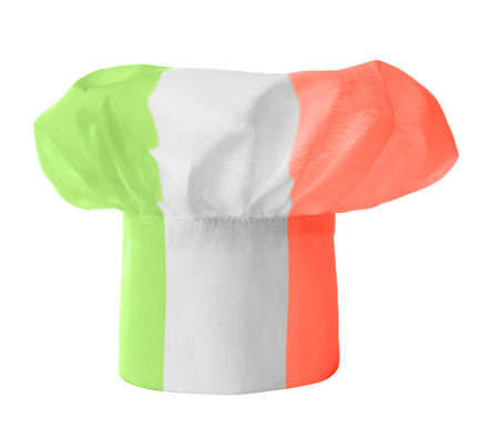 Chef hat colored in italian national flag colors photo