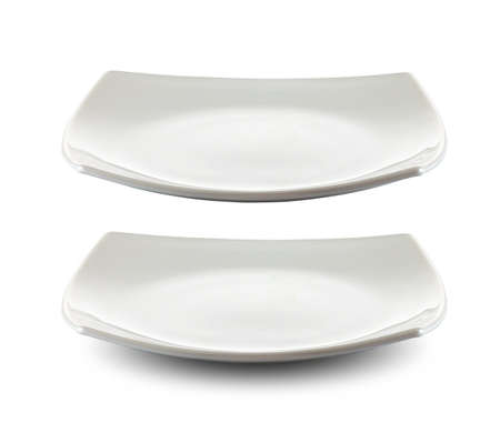 dinner plate: square white plate isolated with clipping path included