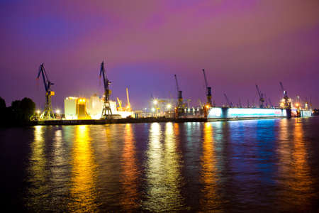 Sea or river port in night time photo