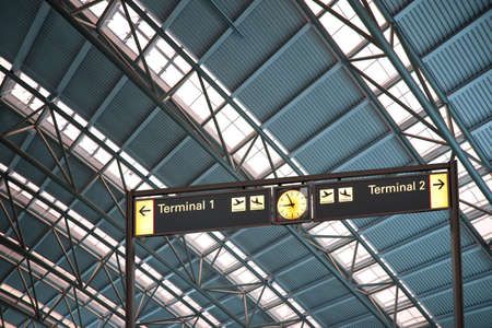 terminal 1 and 2 signs in airport interior Stock Photo - 10438473