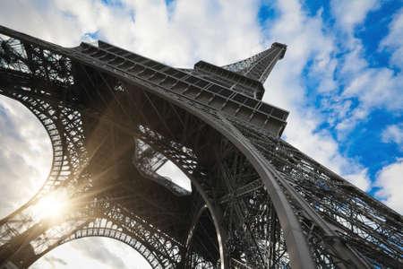 eifel: Eiffel tower in Paris wide angle shot