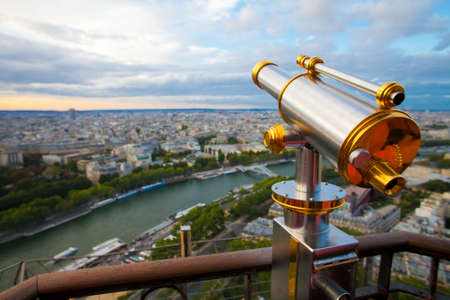 spyglass: View to Paris and Seine from Effeil tower Stock Photo