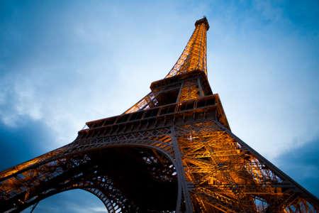 eifel: Eiffel tower in Paris wide angle evening shot