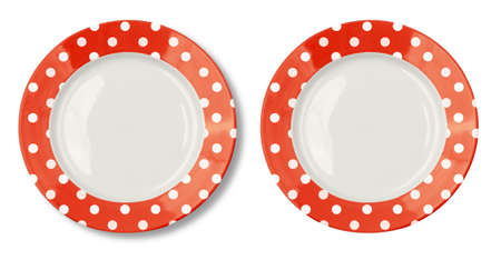 clean dishes: Round plate with red border isolated on white Stock Photo