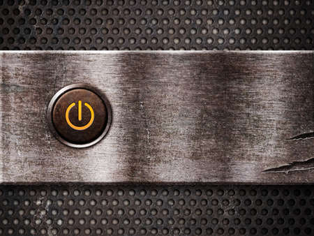 metal grate: rusty power button on