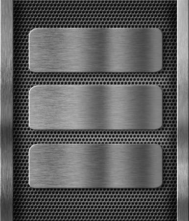 hard alloy: three metal plates over grid background
