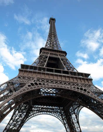places of interest: Eiffel tower in Paris wide angle shot