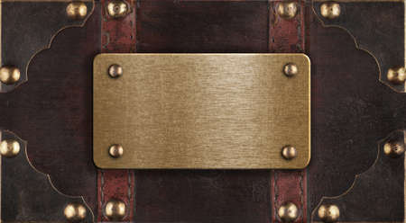 brass metal plate on chest cover photo