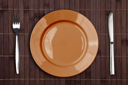 placemat: Bamboo placemat with plate fork and knife