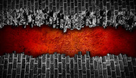 raze: Broken black brick wall  with large red hole