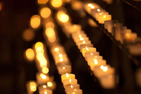 votive: Candles in temple Stock Photo