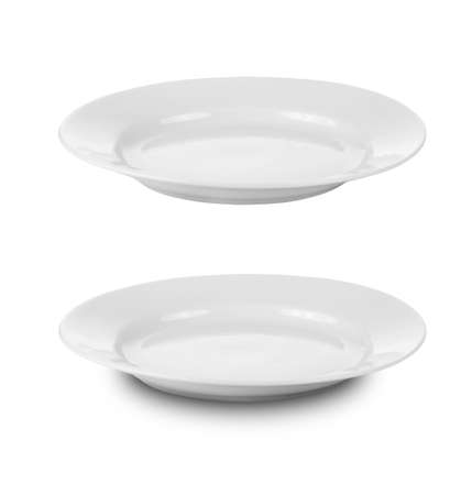 angle views: round plate or dishe isolated on white with clipping path included